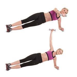 Side plank with rear fly dumbell